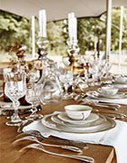 Crockery, cutlery, cups, trays ... Selection for the table